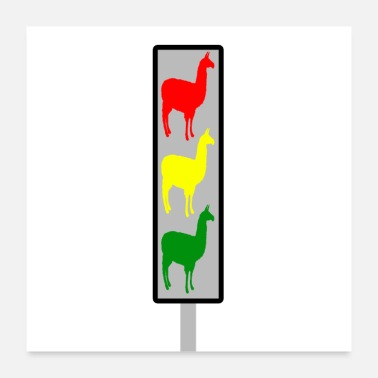 Traffic Alpaca traffic light - Poster 24 x 24 (60x60 cm)