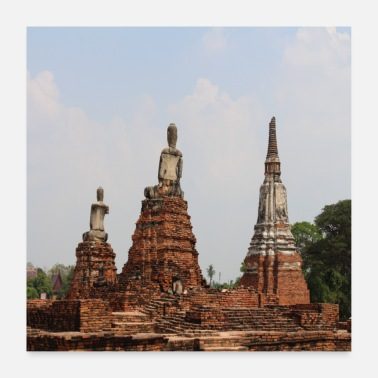 Ancient Bangkok Ayutthaya Thailand Monks ruins ancient - Poster 24 x 24 (60x60 cm)