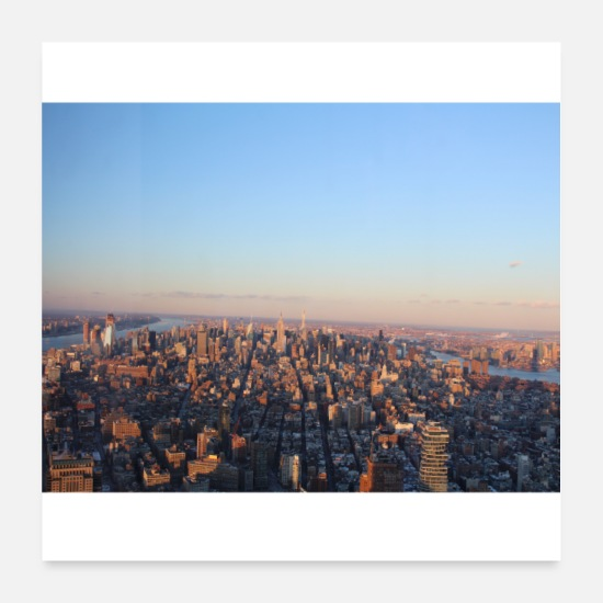New York Poster - new york at sunset new yorkskyline - Poster Weiß