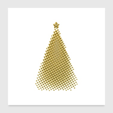 Christmas tree gold - Poster 24 x 24 (60x60 cm)