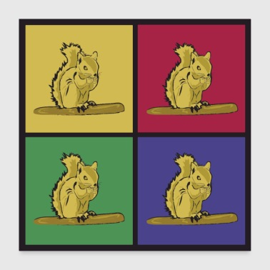 Squirrel pop art croissant - Poster 24 x 24 (60x60 cm)