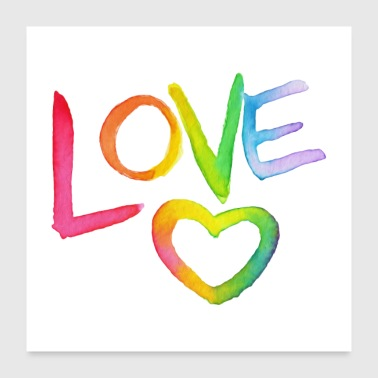 Watercolour Rainbow Love - Poster 24 x 24 (60x60 cm)