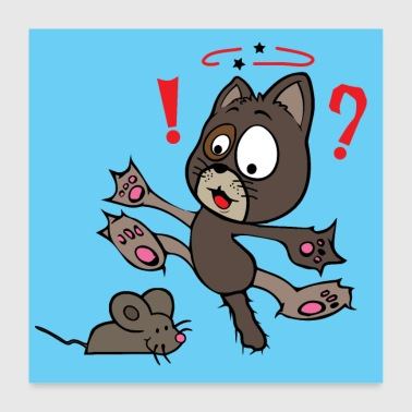 Crazy Cat is scared of a mouse wallcontest - Poster 60x60 cm
