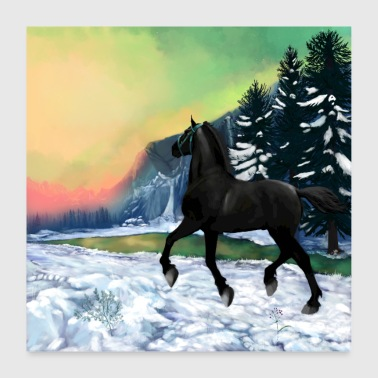 Galop cheval noir - poster - Poster 60 x 60 cm