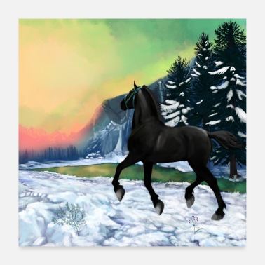 Gallop black horse - poster - Poster 24 x 24 (60x60 cm)