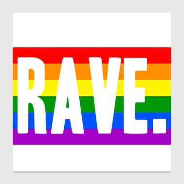 Rave LGBT Techno Rainbow Idea regalo - Poster 60x60 cm