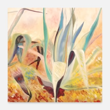 Oil yellow agaves - Poster 24 x 24 (60x60 cm)