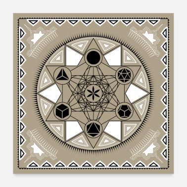 Body Metatron's Cube Holy Geometry Body - Poster 24 x 24 (60x60 cm)
