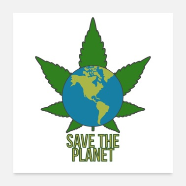 Planet Cannabis Red planet - Poster 60x60 cm