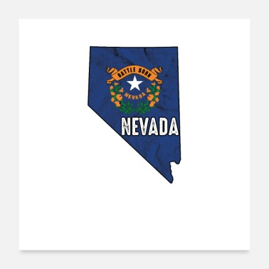 State Nevada flag state - Poster 24 x 24 (60x60 cm)