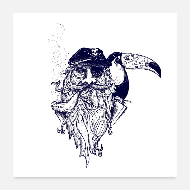 Turtle Posters - pirate toucan tatoo poster - Posters white