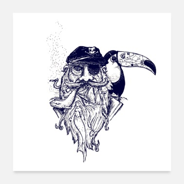 Tatoo pirate toucan tatoo affiche - Poster 60 x 60 cm