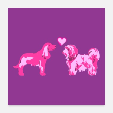 Iheart doglove pink - Poster 60x60 cm