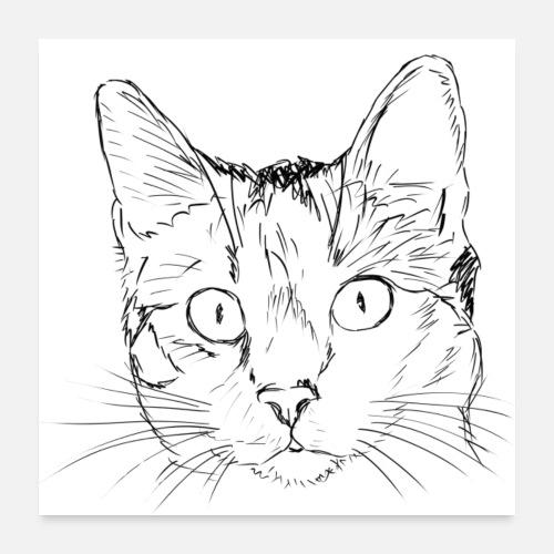 Dibujo A Lápiz De Gato Póster Spreadshirt