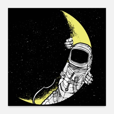 Open Astronaut opens moon space poster gift - Poster 24 x 24 (60x60 cm)