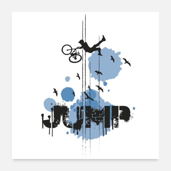 Birthday Posters - DOWNHILL JUMP - BLUE - Posters white