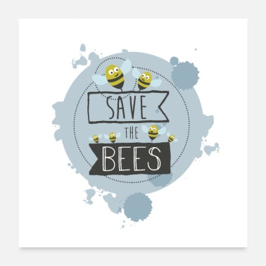 Illustration SAVE THE BEES - BLUE - Poster 24 x 24 (60x60 cm)