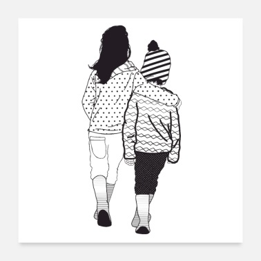 Siblings Siblings, patterned in black and white - Poster