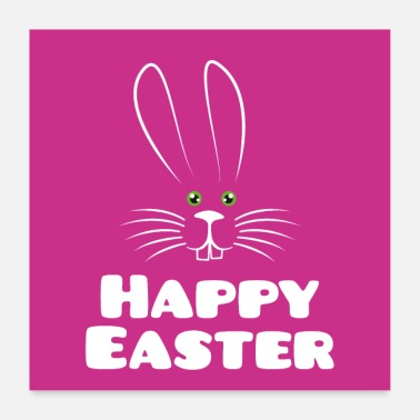 Easter Happy Easter with Easter bunny poster - Poster