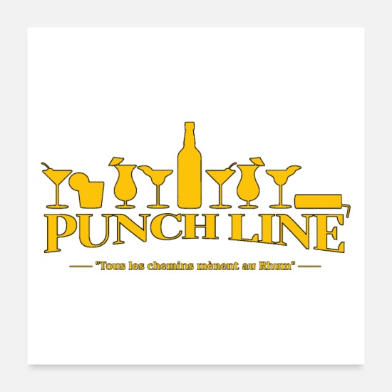 Guadeloupe Posters - PUNCH LINE (COCKTAIL, RHUM, ALCOOL) - Posters blanc