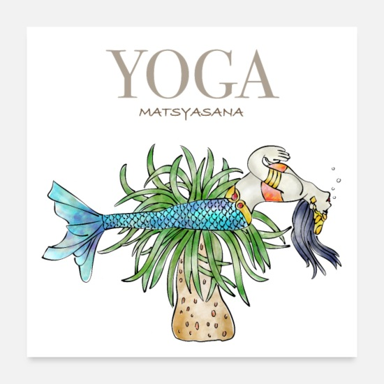 Colour Posters - YOGA The fish Matsyasana - Posters white