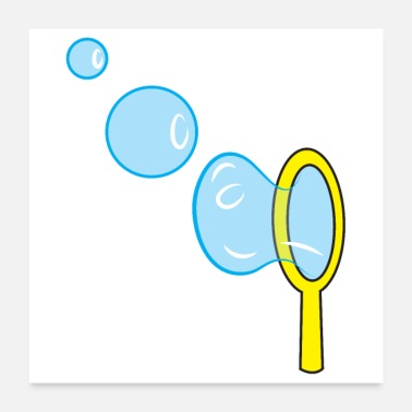 Wand blowing bubbles with bubble wand - Poster
