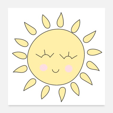 Happy Face Sunshine cute smiling happy sun face - Poster