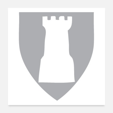 Night Rough Chess piece shield rook castle - Poster