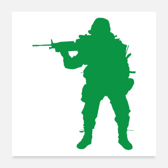 Politics Posters - Green army infantry man with modern gun - Posters white