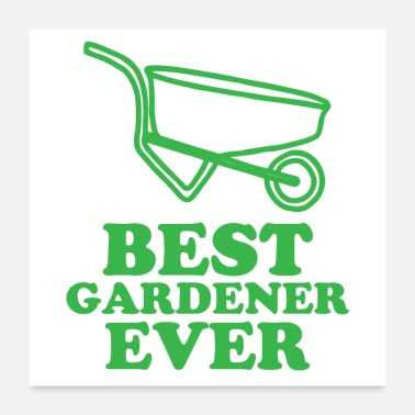 Lawn Mower Best gardener ever with wheel barrow - Poster