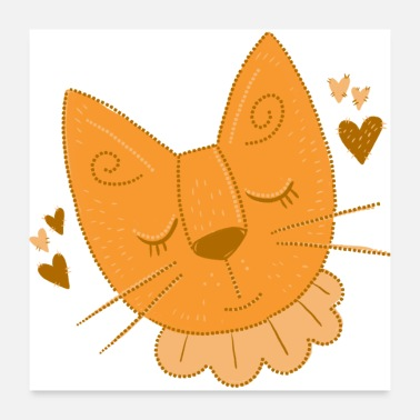 Sleep Sleepy cat with frills and stitches - Poster