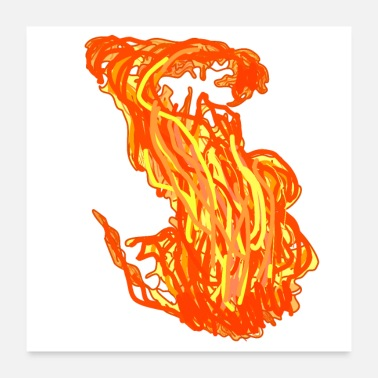 Fire Fighter Fire flame burning fire - Poster