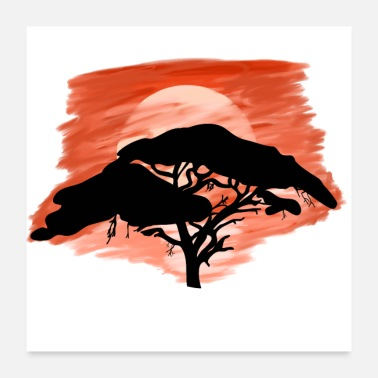 Vacation Sunset tree Africa vacation - Poster