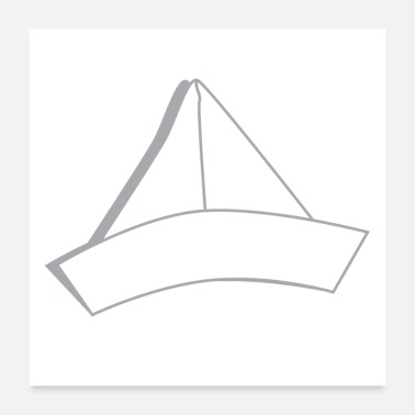 Fold white folded paper hat - Poster