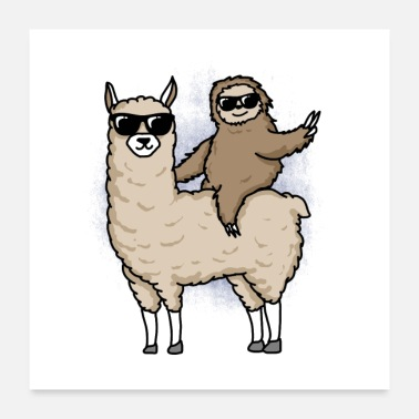 Sloth on Alpaca Poster Funny Gift - Poster