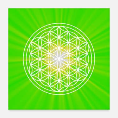 Flowers Poster flower of life energy picture green heart chakra - Poster