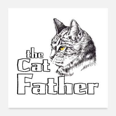 Cat Dad Cool evil cat dad gift retro godfather - Poster