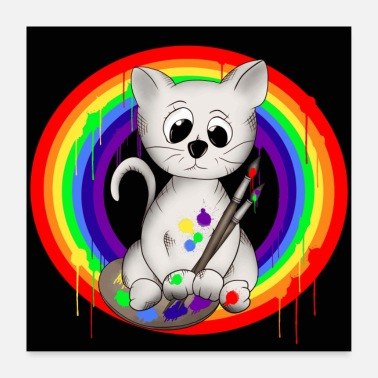 Comic Style Cat rainbow - Poster