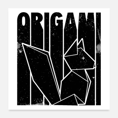 Fold Fox origami | Paper fold Japanese gifts - Poster