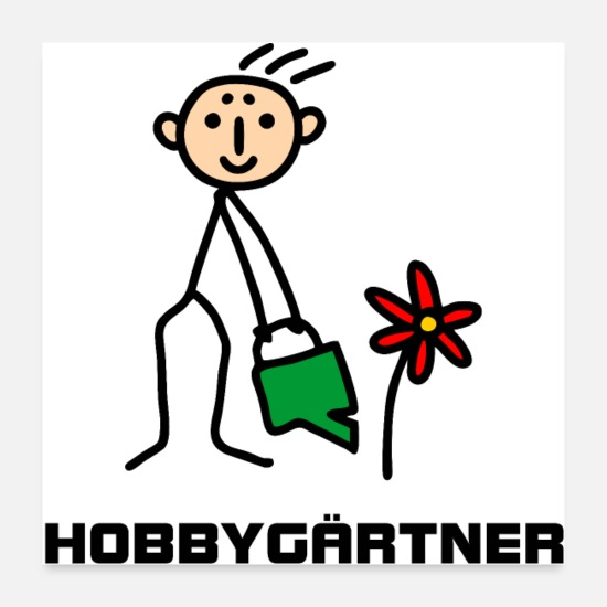 Birthday Posters - Hobby gardener - stick figure pours flowers - Posters white