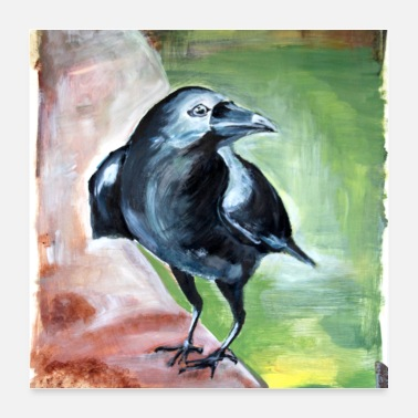 Intelligent crow raabe fugl intelligent sort maleri kunst - Poster