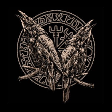 HUGIN JA MUNIN JA ROUND CIRCLE - Juliste 60x60 cm