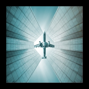 Airplane over skyscraper - Poster 24 x 24 (60x60 cm)