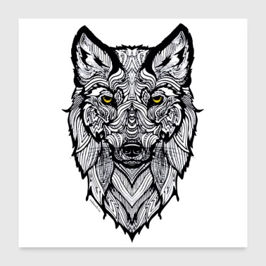 Wolf with yellow eyes - Poster 24 x 24 (60x60 cm)