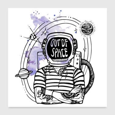 Out of Space mit lila Farbklecks - Poster 60x60 cm