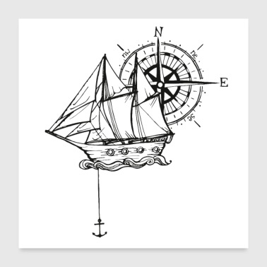 Ship with compass and anchor - Poster 24 x 24 (60x60 cm)