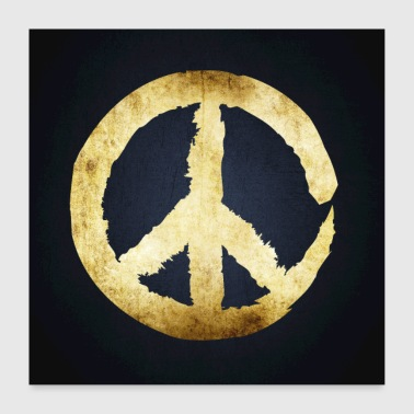 Peace Black Gold Square Posters - Poster 24 x 24 (60x60 cm)