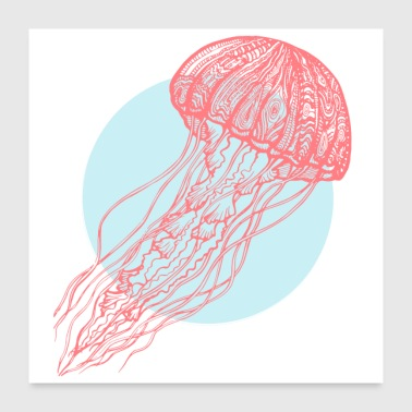 Red jellyfish - Poster 24 x 24 (60x60 cm)