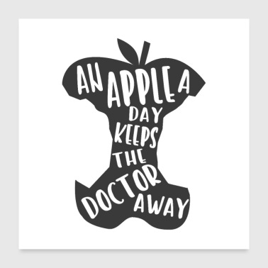 Old saying humorously packed. Apple, doctor - Poster 24 x 24 (60x60 cm)