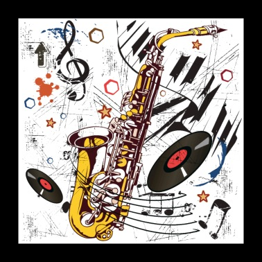 Sax Tunes - Poster - Poster 24 x 24 (60x60 cm)
